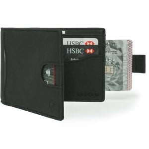 Black Bifold Mens Wallet Card Wallet Holder with pull tab