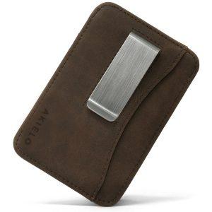 Brown RFID blocking credit card holder wallet with Money Clip