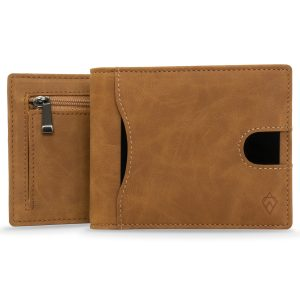 Tan Mens Zip Card Wallet Holder